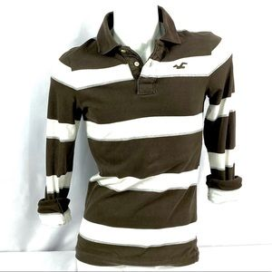 Hollister | Small Mens Striped Brown Cotton Polo